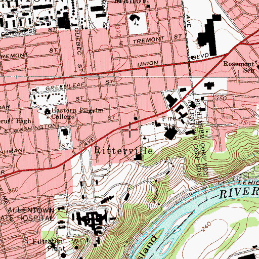 Topographic Map of Ritterville, PA