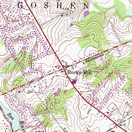 Topographic Map of Rocky Hill, PA