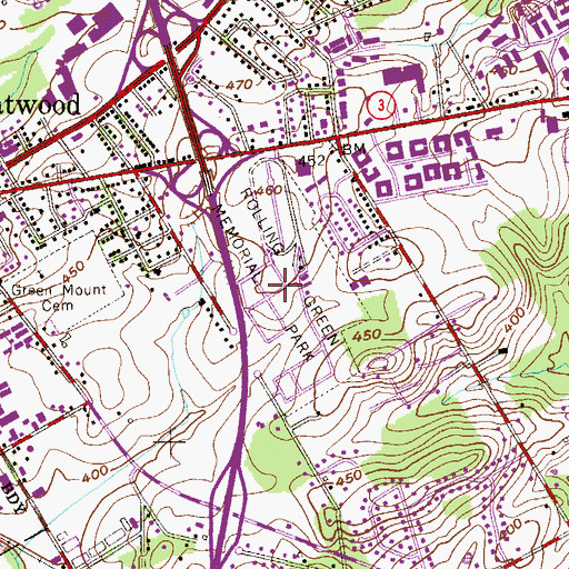 Topographic Map of Rolling Green Memorial Park, PA