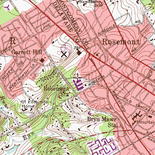Topographic Map of Rosemont Station, PA
