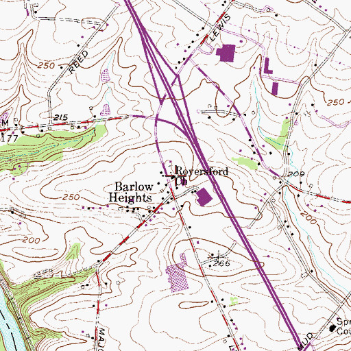 Topographic Map of Royersford Church, PA