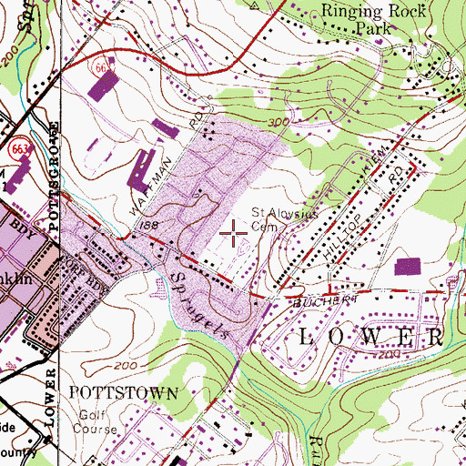 Topographic Map of Saint Aloysius Cemetery, PA