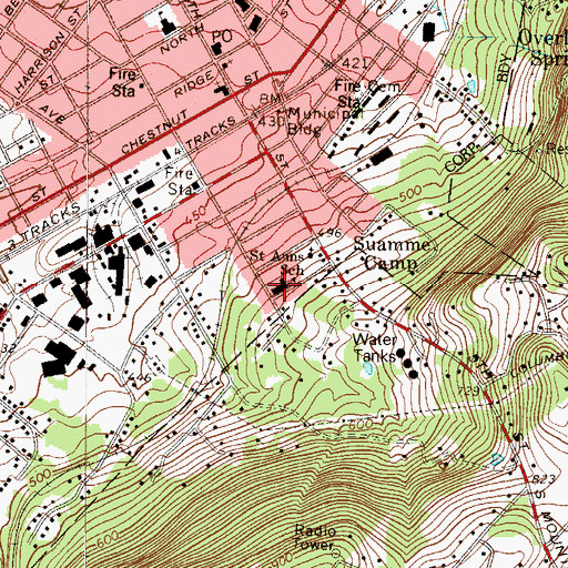 Topographic Map of Saint Anns School, PA