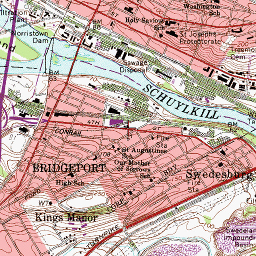 Topographic Map of Saint Augustines School, PA