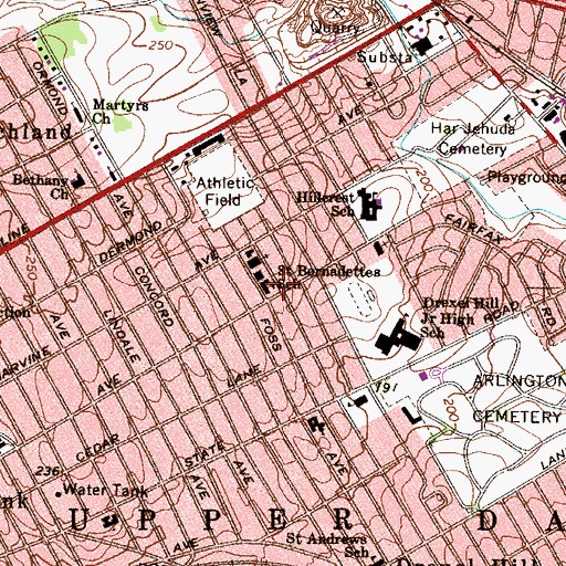 Topographic Map of Saint Bernadettes School, PA