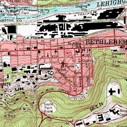 Topographic Map of Saint Cyrils School, PA