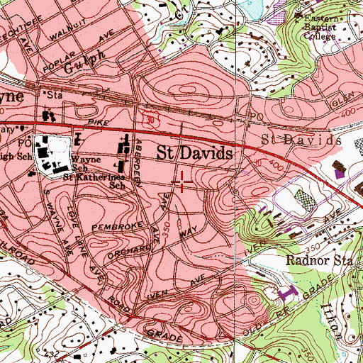Topographic Map of Saint Davids, PA