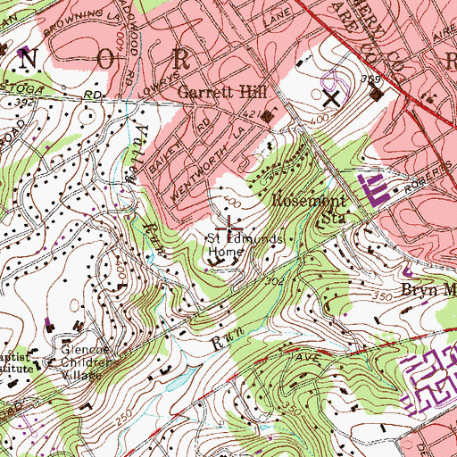 Topographic Map of Saint Edmunds Home, PA