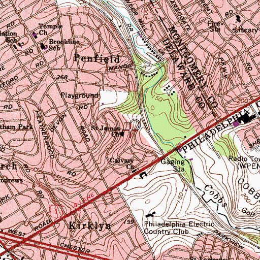 Topographic Map of Saint James Church, PA