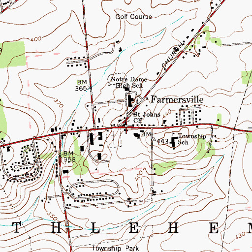 Topographic Map of Saint Johns Church, PA