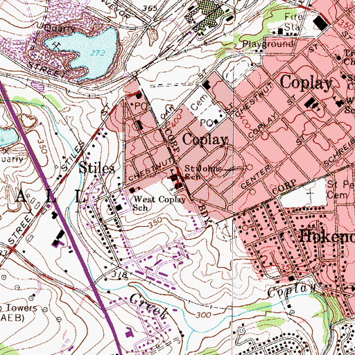 Topographic Map of Saint Johns School, PA