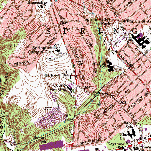 Topographic Map of Saint Kevin School, PA