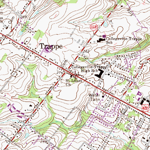 Topographic Map of Saint Lukes Church, PA
