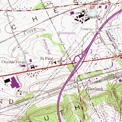 Topographic Map of Saint Paul Church, PA