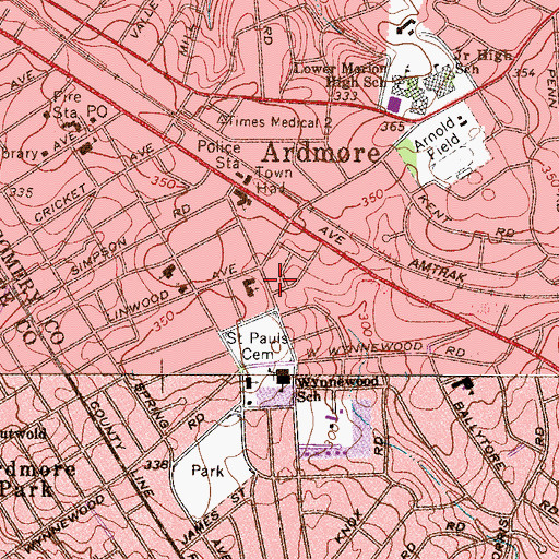 Topographic Map of Saint Pauls Cemetery, PA