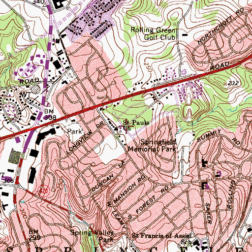 Topographic Map of Saint Pauls Church, PA