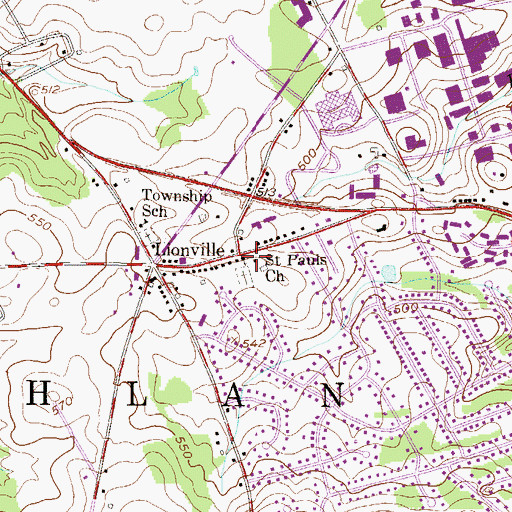Topographic Map of Saint Pauls Lutheran Church, PA