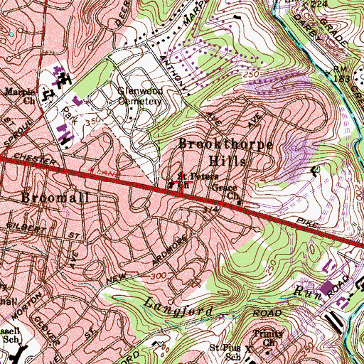 Topographic Map of Saint Peters Church, PA