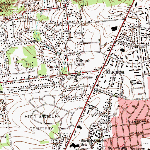 Topographic Map of Saint Thomas Church, PA