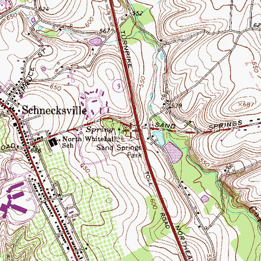 Topographic Map of Sand Springs Park, PA