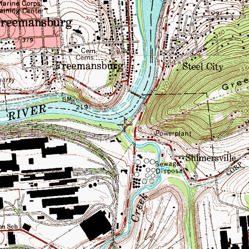 Topographic Map of Saucon Creek, PA