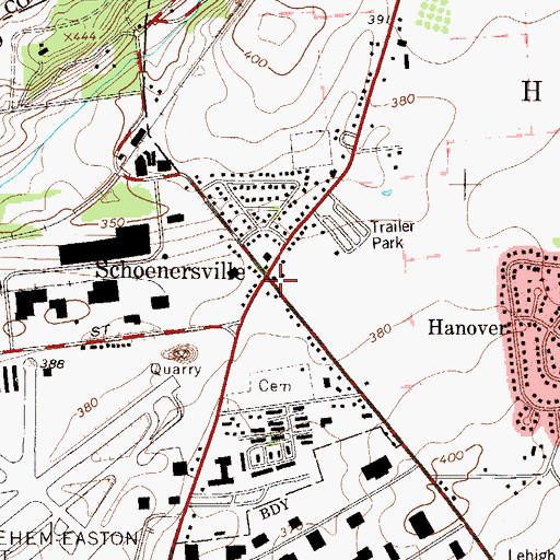 Topographic Map of Schoenersville, PA