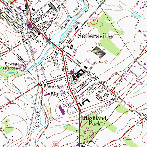 Topographic Map of Sellersville, PA