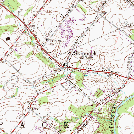 Topographic Map of Skippack, PA