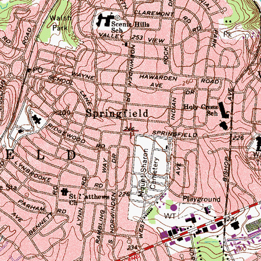 Topographic Map of Springfield, PA