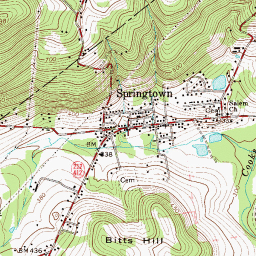 Topographic Map of Springtown, PA