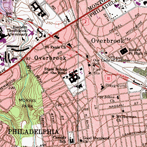 Topographic Map of State School for the Blind, PA