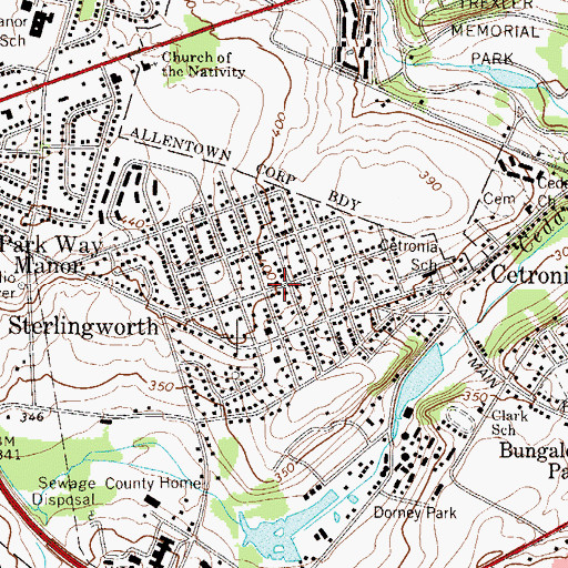 Topographic Map of Sterlingworth, PA