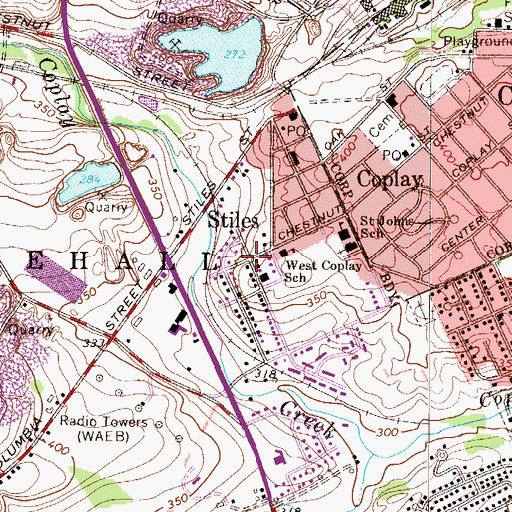 Topographic Map of Stiles, PA