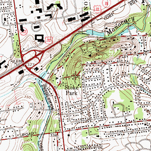 Topographic Map of Stoke Park, PA