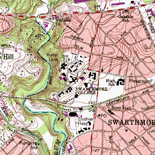 Topographic Map of Swarthmore College, PA