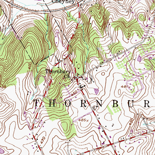 Topographic Map of Thornbury Church, PA