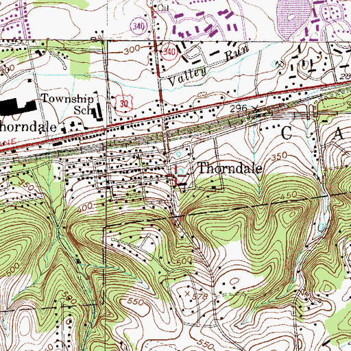 Topographic Map of Thorndale, PA