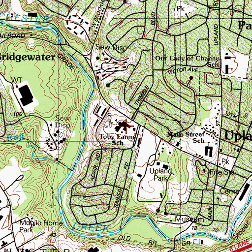 Topographic Map of Toby Farms School, PA