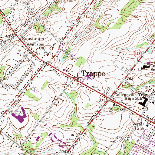 Topographic Map of Trappe, PA