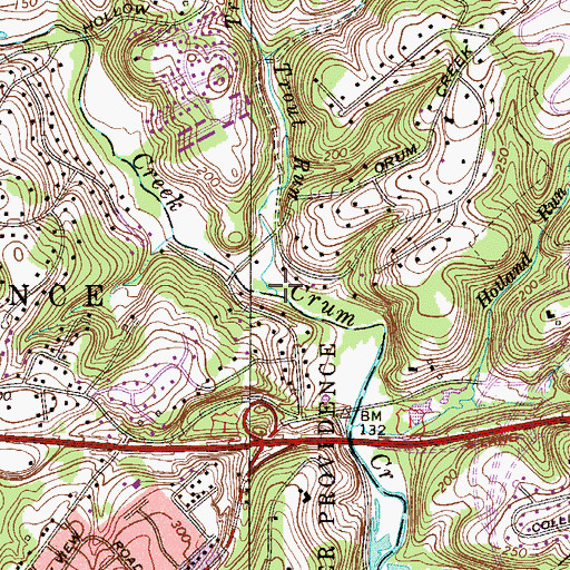 Topographic Map of Trout Run, PA