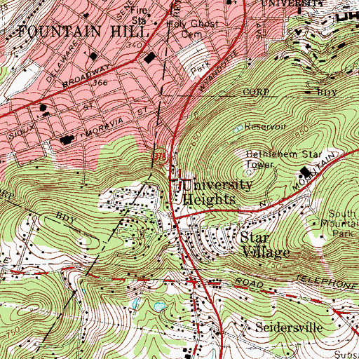 Topographic Map of University Heights, PA