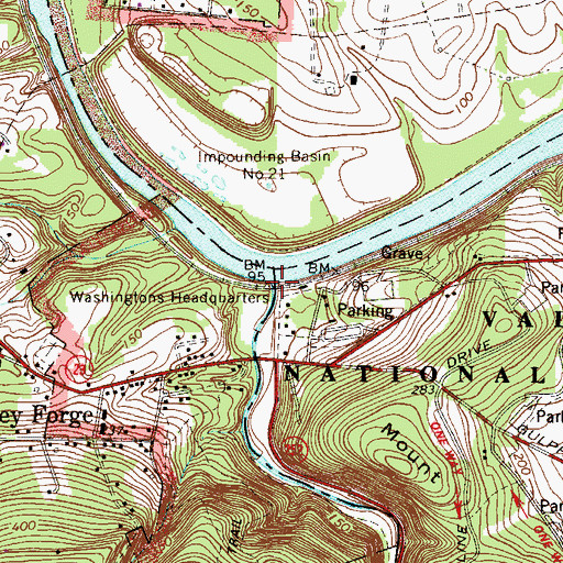Topographic Map of Valley Creek, PA