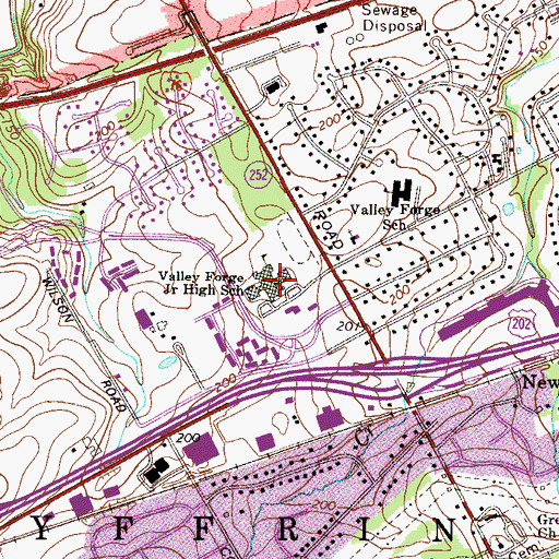 Topographic Map of Valley Forge Middle School, PA