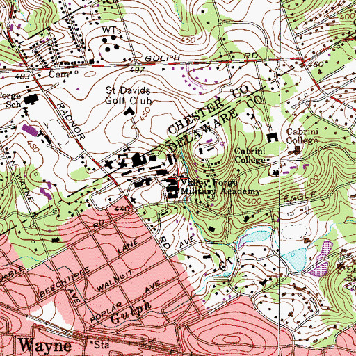 Topographic Map of Valley Forge Military Academy, PA