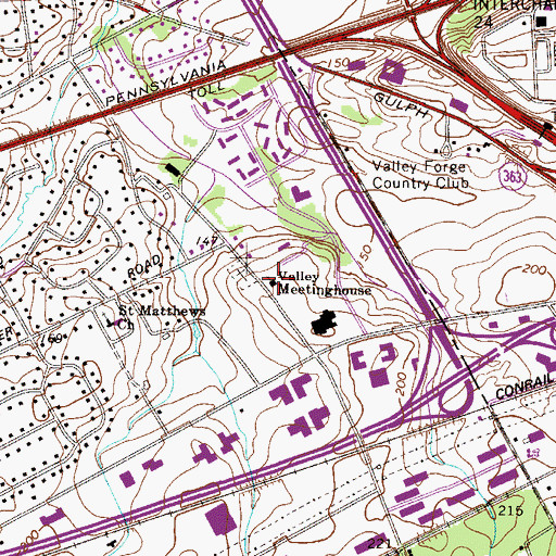 Topographic Map of Valley Meetinghouse, PA