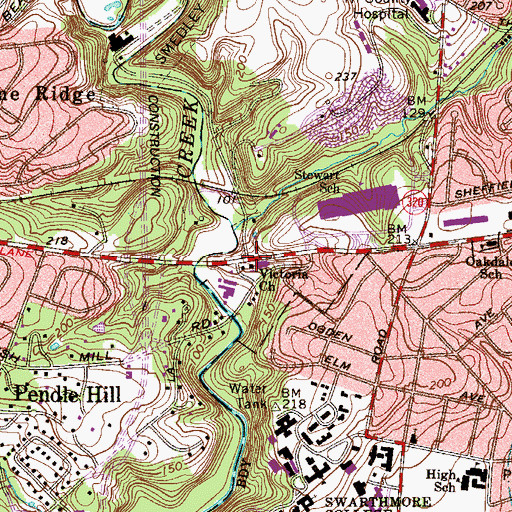 Topographic Map of Victoria Church, PA