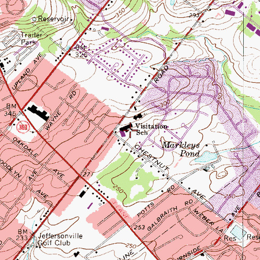 Topographic Map of Visitation School, PA
