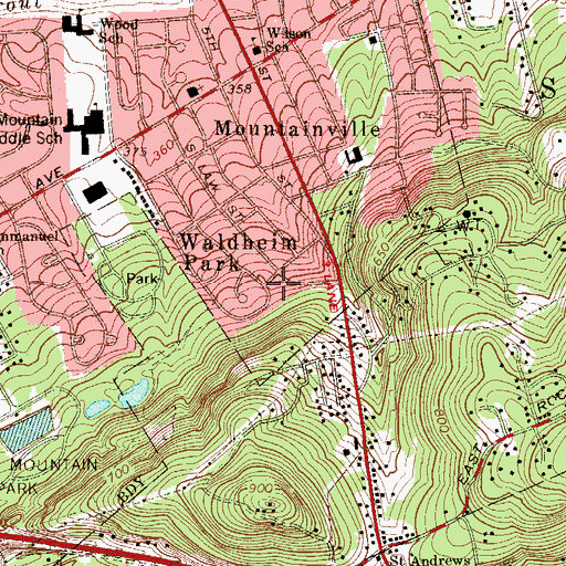 Topographic Map of Waldheim Park, PA
