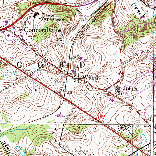 Topographic Map of Ward, PA