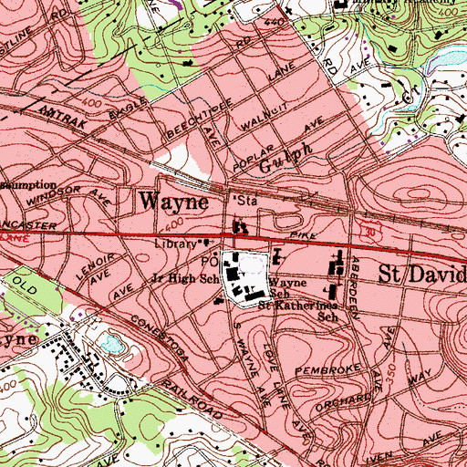 Topographic Map of Wayne, PA